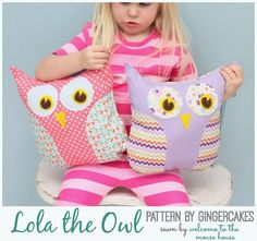 Lola the Owl:  Gingercakes Sewing Patterns.  Cute Owl Pillow Pattern