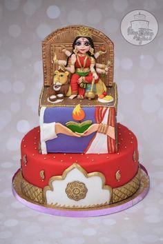 Incredible India Collaboration - Goddess Durga cake - cake by Divya Haldipur India Cakes, Indian Wedding Cakes, Tool Cake, Food Artists, Fondant Rose, Dress Cake, Durga Goddess, Cake Decorating Techniques, Cupcake Cakes