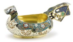 A Fabergé gilded silver and cloisonné enamel kovsh, Moscow, 1899-1908, with amusing animal-form head and shaped handle, the body with floral and foliate ornament against cream and teal grounds, probably from the workshop of Fedor Rückert, struck K. Fabergé in Cyrillic beneath the Imperial warrant, 88 standard, scratched inventory number 23078, and with French control mark