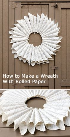 How to Make a #Wreath Will Rolled Paper >> http://blog.diynetwork.com/tool-tips/2012/10/30/rolled-paper-wreath-with-60s-sheet-music/?soc=pinterest-greatwreath
