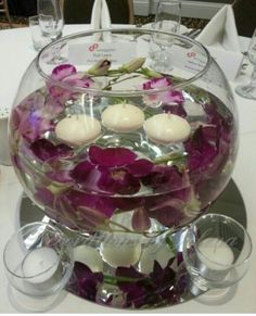 Floating Candle Centerpiece: torqoise  peebles, lime green floating flowers                                                                                                                                                                                 Mais