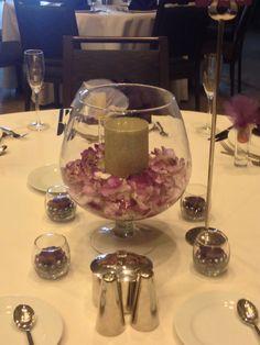 Hydrangea in brandy snifter