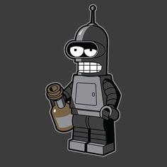 "Futurama t-shirt by Ryan Brinkerhoff aka Brinkerhoff. ""Mini Bendingbot"" is a Lego version of Bender. Futurama Tattoo, Futurama Characters, Futurama Bender, Robot Tattoo, Rock Poster, American Dad, Custom Lego, The Simpsons, Retro"