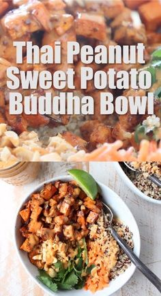 Roasted sweet potatoes & quinoa are topped with delicious Thai peanut sauce in this easy, healthy, gluten free, vegan buddha bowl recipe! pot recipes for beginners keto Thai Peanut Sweet Potato Buddha Bowls Healthy Dinner Recipes, Whole Food Recipes, Diet Recipes, Breakfast Recipes, Healthy Mexican Food, Red Quinoa Recipes, Plant Based Dinner Recipes, Healthy Nachos, Vegan Recipes Easy Healthy