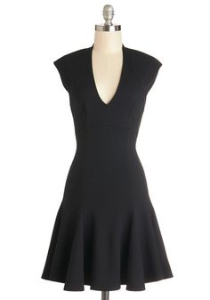 A Dash of Flair Dress - Black, Solid, Party, LBD, Fit & Flare, Cap Sleeves, Good, V Neck, Knit, Mid-length