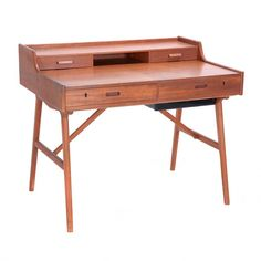 Danish Mid Century Modern Teak Secretary Desk By Arne Wahl Iversen for Vinde Mobelfabrik #michaans #midcenturymodern #auctions https://www.michaans.com/highlights/2017/highlights_09092017.php
