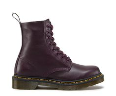 8 Eyelet Pascal Boot Purple Virginia is a soft, fine grained Nappa leather Heel loop Goodyear-welted, the upper and sole are heat-sealed and sewn together Dr. Martens air-cushioned sole
