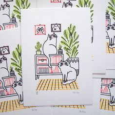"""3,268 Likes, 35 Comments - Julia Bereciartu (@juliabe) on Instagram: """"Cat decor is the best decor! Here's the finished Gocco print I was working on last week. It's a…"""""""