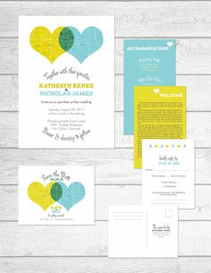 Hearts and Maps Themed Wedding Stationery Collection by The Print Cafe in Fort Collins, Colorado. The invitation and all of the inserts go into a pocket fold card and are placed in an outer envelope for a sophisticated touch. #wedding #invitation #Heart #venndiagram #venn #yellow #green #blue #turquiose #maps #cities #city #bridal #invitations #collection #custom #designs #pocket #pocketfold #foldedpocket #theprintcafe #fortcollins