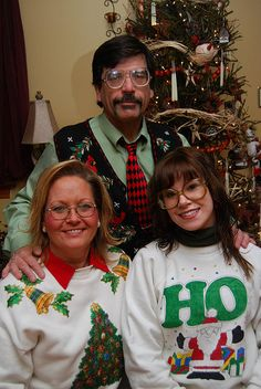 Ugly Christmas Sweater family photo.