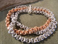 Aluminum and Bronze 3 row chainmaille bracelet by Jonesing4Jewelry, $40.00