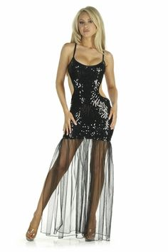 Sequin Mesh Gown * 5217 by Nom de Plume, $97.99 - Sexy Shoes, High Heels, Stripper Shoes, Platforms, and Thigh High Boots for Women