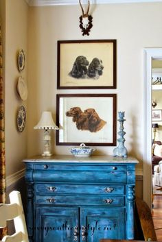 Antique dog paintings from France, decorating with dogs, Charles Faudree inspired, Aubusson chalk painted buffet, blue and white transferware, marble lamp, roe deer antlers, French country style