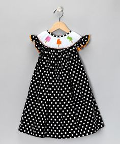 Black Polka Dot Smocked Dress - by Marjorie's Daughter on #zulily today!