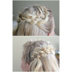 4-Strand Headband Crown Braid ❤ liked on Polyvore featuring accessories, hair accessories, hair band headband, woven headbands, hair band accessories, braid crown and braided headwrap