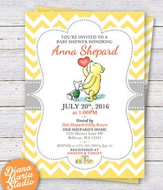 Winnie the Pooh Baby Shower Invitation - Classic Winnie the Pooh Gender Neutral Yellow Chevron Invitation-PRINTABLE by DianaMariaStudio on Etsy https://www.etsy.com/listing/224774649/winnie-the-pooh-baby-shower-invitation
