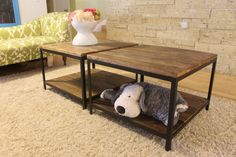 "Reclaimed Wood Coffee/Side Table on Angle Iron - ""The Ely"" Side ... love these"