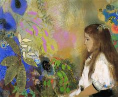 Portrait of Yseult Fayet in pastel by Odilor Redon