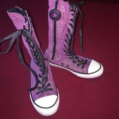 Converse size 3 junior (5 women) sparkle hi tops Converse hi-tops size 3 purple sparkle. Super cute very very gently pre loved condition. These were worn only a few times. Smoke free home. Converse Shoes