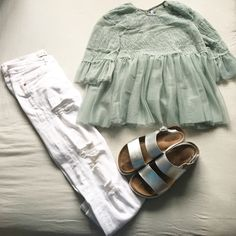Summer outfit inspo Metallic sandals, white ripped jeans, Grecian style frill top Colour combo