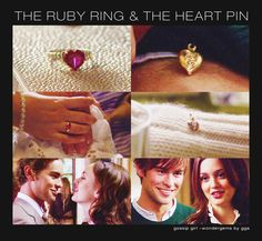blair's ruby ring and heart pin from nate