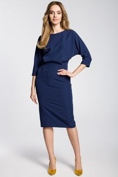 4d92f31c74590 Navy Blue Midi Dress With Loose Fitting Top  Blue  cf-color-blue