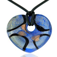Pugster Necklace Murano Glass Blue And Gold Heart Pendant Necklaces Pugster. $23.99. Excellent for all ages and any occasion. Made in China. Gorgeous for gifts. Perfect for Women, girls. Murano glass pendant