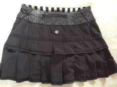 Lululemon Pace Setter Skirt 2 Womens Black White Run Shorts Below #Lululemon #SkirtsSkortsDresses