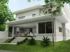 Cinza das paredes contraste do branco da esquadraria e o verde da grana no perímetro da casa Beautiful House Plans, Modern House Plans, Modern House Design, Dream House Exterior, Exterior House Colors, Modern Tropical House, House Outside Design, Architectural House Plans, Villa