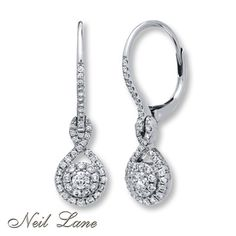 Neil lane diamond and platinum flower earrings adorable for Jared jewelry the loop