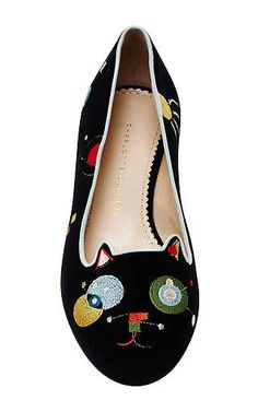 Charlotte Olympia - Black Velvet Abstract Kitty Flats