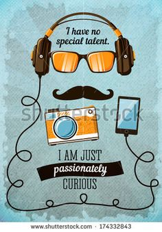 Hipster poster with vintage accessories and items vector illustration by Macrovector, via Shutterstock