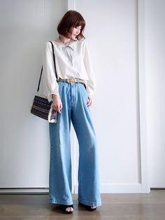 白系 & 蓝系  清新甜美风格穿搭😘 上衣:cepo 白色花苞袖上衣… 裤子:GU 牛仔宽管裤…