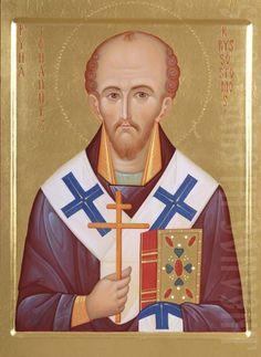 Handpainted icon of St John Chrysostom, catalog of St Elisabeth Convnet. Made to order. #CatalogOfGoodDeeds  #icon #iconography #orthodoxicon #orthodoxiconography #paintedicon #iconsinoklads #mountedicons #buyicon #ordericon #handpainted #lacqueredicon #iconpainters #iconographers #MotherOfGod #Theotokos #HolyTheotokos #VirginMary #Chrysostom
