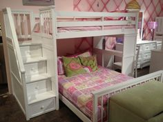 White Wooden Bunk Bed With Storage Drawer Ladder Using Pink Bedding Plus Wooden Table With Chair Added Green Velvet Bench As Well As Boys Loft Bed With Desk  And White Bunk Bed With Desk And Stairs