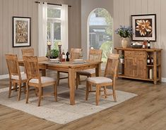Alpine Furniture 881201020206 6 Piece Aspen Extension Dining Table Set with Server Iron Brush Antique Natural -- Be sure to check out this awesome product.-It is an affiliate link to Amazon. #DiningSets