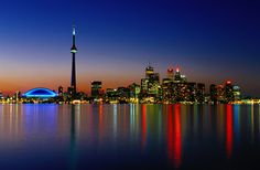 Beautiful photo mural of the city of Toronto in Ontario, Canada. Book Cheap Hotels, Night Skyline, Canada Holiday, Toronto Photos, See You Soon, Travel Log, Toronto Canada, Cn Tower, New Pictures