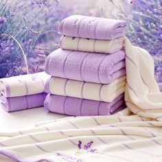 New 100% Cotton Towel Set romantic lavender Purple Satin Towel Family Home Strong Absorption Great Softness Free Shipping