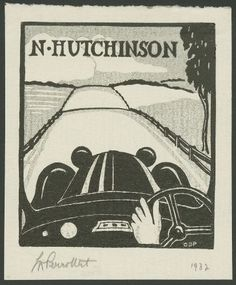 Bookplate N Hutchinson 1929 Lino-Cut Queensland