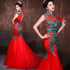 Green embroidered floral red mandarin collar mermaid dress (Pre-Sale & custom made only) | Modern Qipao