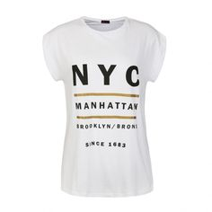 Ally Fashion New york metallic rolled sleeve tee (€10) ❤ liked on Polyvore featuring tops, t-shirts, white t shirt, rolled sleeve t shirt, metallic top, metallic t shirt and metallic tee