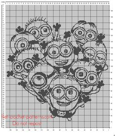 Crochet filet crib blanket with Minions Despicable me free pattern design