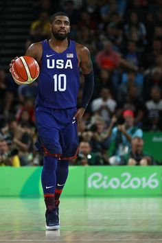 #RIO2016 Kyrie Irving of United States moves the ball during a Preliminary Round Basketball game between Australia and the United States on Day 5 of the Rio...