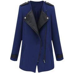 Pink Queen Womens Winter Asymmetric Inclined Zipper PU Leather Wool... (195 RON) ❤ liked on Polyvore featuring outerwear, coats, wool coat, asymmetrical zip coat, asymmetrical coat, blue wool coat and asymmetrical wool coat