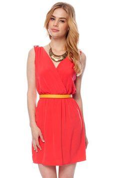 Epaulette Wrap Dress in Tomato $30 at www.tobi.com