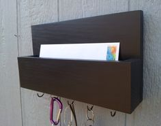 Mail and Key Rack / Mail Organizer / Mail and Key Holder / Key Hooks / Painted - Beluga / Black