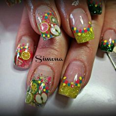 Fruit fimo and green sparkle nails
