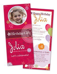 Free Printable American Girl Birthday Invitations