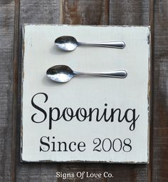 Spooning Since Couples Home Decor Personalized Wedding Sign Kitchen Wall Art Decor Anniversary Gift #spooningsince