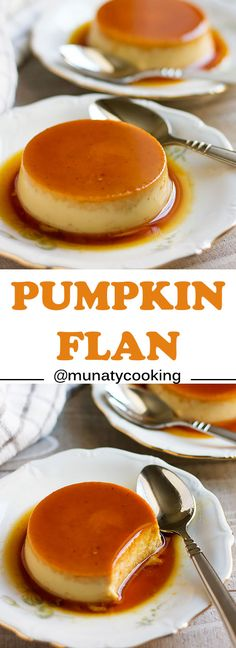 Pumpkin Flan Recipe, and easy dessert made of two layers, caramel and creamy custard. It is a quick to make and a good looking dessert on your dinner table. Vegetarian Desserts, Healthy Dessert Recipes, Easy Desserts, Cooking Pumpkin, Vegan Pumpkin, Healthy Pumpkin, Best Flan Recipe, Vegan Flan, Pumpkin Custard
